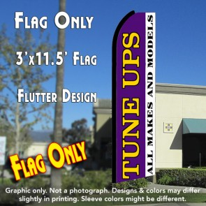 TUNE UPS All Makes and Models (Purple/White) Flutter Feather Banner Flag (11.5 x 3 Feet)