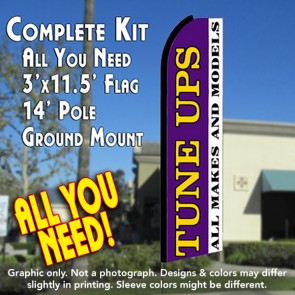 TUNE UPS All Makes and Models (Purple/White) Flutter Feather Banner Flag Kit (Flag, Pole, & Ground Mt)