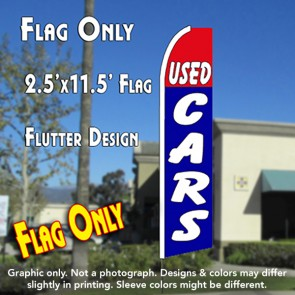 USED CARS 2.5 (Red/Blue) Flutter Feather Banner Flag (11.5 x 2.5 Feet)