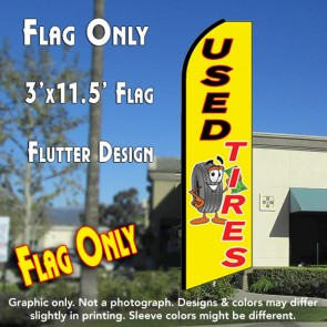 USED TIRES (Yellow) Flutter Feather Banner Flag (11.5 x 3 Feet)