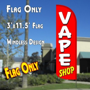 vape shop windless polyknit feather flags