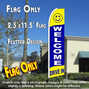 WELCOME DRIVE IN (Yellow/Blue) Flutter Feather Banner Flag (11.5 x 2.5 Feet)
