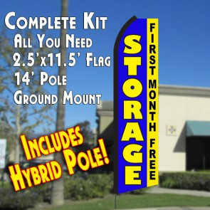 STORAGE First Month Free (Blue/Yellow) Flutter Feather Banner Flag Kit (Flag, Pole, & Ground Mt)