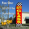 AUTO GLASS (Red/Checkered) Flutter Polyknit Feather Flag (11.5 x 2.5 feet)