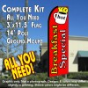 BREAKFAST SPECIAL (Red) Flutter Feather Banner Flag Kit (Flag, Pole, & Ground Mt)
