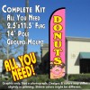 DONUTS (Pink/Yellow) Windless Feather Banner Flag Kit (Flag, Pole, & Ground Mt)