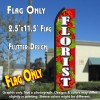 FLORIST (Red/White) Flutter Polyknit Feather Flag (11.5 x 2.5 feet)