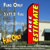 FREE ESTIMATE (Red) Flutter Feather Banner Flag (11.5 x 3 Feet)