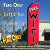 FREE WIFI (Red) Flutter Feather Banner Flag (11.5 x 3 Feet)