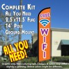 FREE WIFI Windless Feather Banner Flag Kit (Flag, Pole, & Ground Mt)
