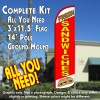 Fresh Sandwiches (White/Red) Windless Feather Banner Flag Kit (Flag, Pole, & Ground Mt)