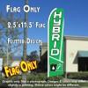HYBRID (Green) Flutter Feather Banner Flag (11.5 x 2.5 Feet)