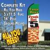 LARGE PIZZA (Fresh Hot) $5 Flutter Feather Banner Flag Kit (Flag, Pole, & Ground Mt)