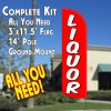 LIQUOR (Red/White) Windless Feather Banner Flag Kit (Flag, Pole, & Ground Mt)