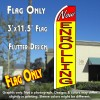 NOW ENROLLING (Yellow/Red) Flutter Polyknit Feather Flag (11.5 x 2.5 feet)