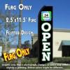 OPEN 24 Hours (Black/White) Flutter Polyknit Feather Flag (11.5 x 2.5 feet)
