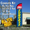 OPEN SUNDAYS (Red/Blue) Windless Feather Banner Flag Kit (Flag, Pole, & Ground Mt)