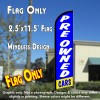 PRE-OWNED CARS (Blue)) Windless Feather Banner Flag (2.5 x 11.5 Feet)