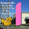 SOLID PINK Windless Feather Banner Flag Kit (Flag, Pole, & Ground Mt)