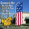 USA PATRIOTIC Flutter Feather Banner Flag Kit (Flag, Pole, & Ground Mt)