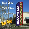 WELCOME BIENVENIDOS (Blue/Red) Flutter Feather Banner Flag (11.5 x 3 Feet)