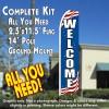 WELCOME (Patriotic) Flutter Feather Banner Flag Kit (Flag, Pole, & Ground Mt)