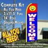 WELCOME (Smiley) Flutter Feather Banner Flag Kit (Flag, Pole, & Ground Mt)