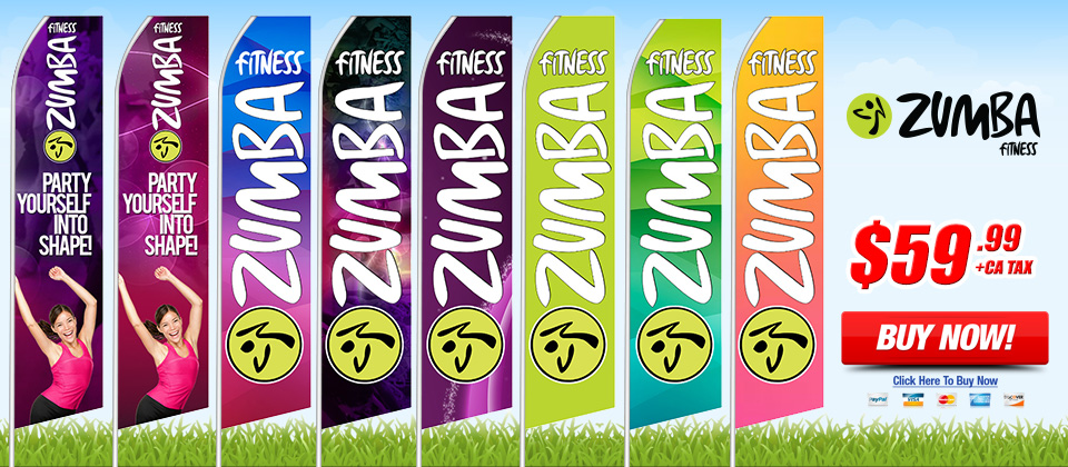 Zumba Fitness - Advertising Feather Flags Overnight Grafix