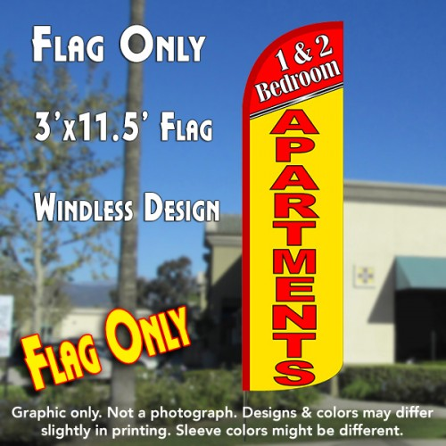1 & 2 Bedroom Apartments Windless Polyknit Feather Flag (3 x 11.5 feet)