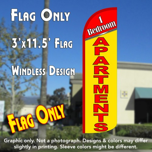 1 Bedroom Apartments Windless Polyknit Feather Flag (3 x 11.5 feet)