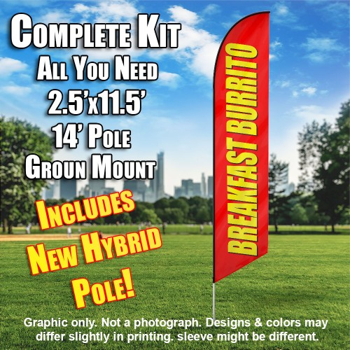Breakfast Burrito Red - yellow windless  Feather Banner Flag Kit (Flag, Pole, & Ground Mt)