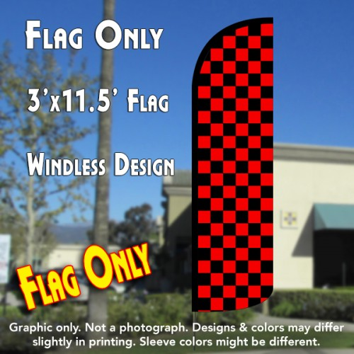 Checkered BLACK/RED Windless Polyknit Feather Flag (3 x 11.5 feet)