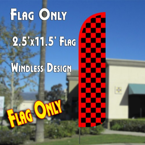Checkered RED/BLACK Windless Polyknit Feather Flag (2.5 x 11.5 feet)