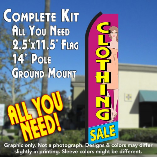 CLOTHING SALE (Pink/Yellow) Flutter Feather Banner Flag Kit (Flag, Pole, & Ground Mt)