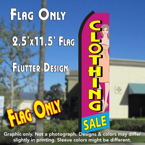 CLOTHING SALE (Pink/Yellow) Flutter Polyknit Feather Flag (11.5 x 2.5 feet)