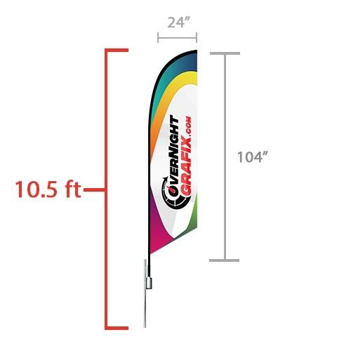 Custom Feather Flag Angled (medium) 10.5 ft tall