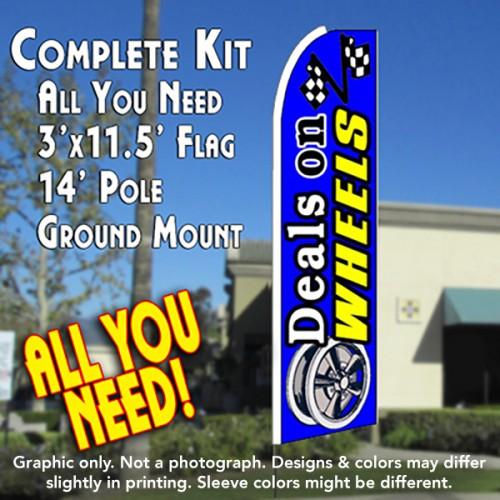 DEALS ON WHEELS (Blue) Flutter Feather Banner Flag Kit (Flag, Pole, & Ground Mt)