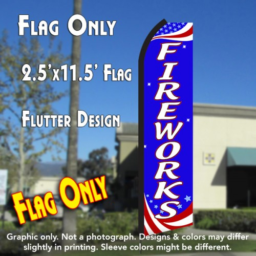 FIREWORKS (Patriotic) Flutter Polyknit Feather Flag (11.5 x 2.5 feet)