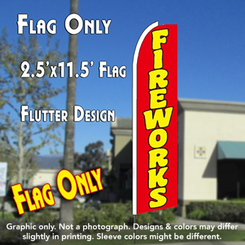 FIREWORKS (Red) Flutter Feather Banner Flag (11.5 x 2.5 Feet)