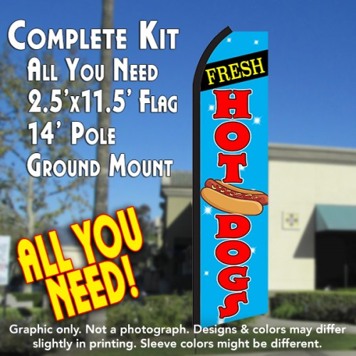 FRESH HOT DOGS (Blue/Red) Flutter Feather Banner Flag Kit (Flag, Pole, & Ground Mt)