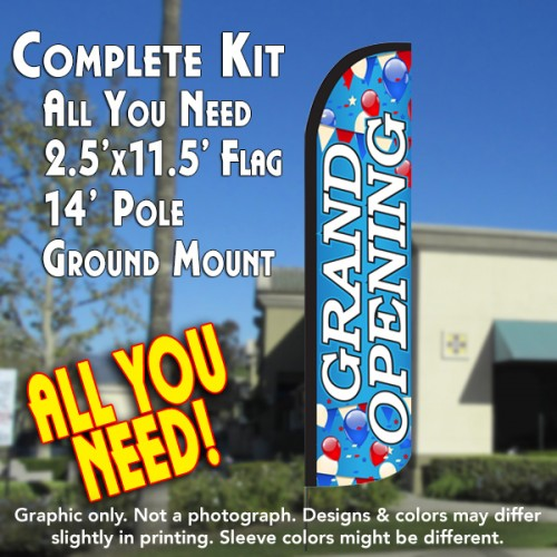 GRAND OPENING (Blue/White) Windless Feather Banner Flag Kit (Flag, Pole, & Ground Mt)