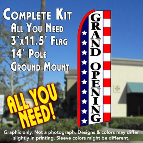 GRAND OPENING (Stars & Stripes) Flutter Feather Banner Flag Kit (Flag, Pole, & Ground Mt)