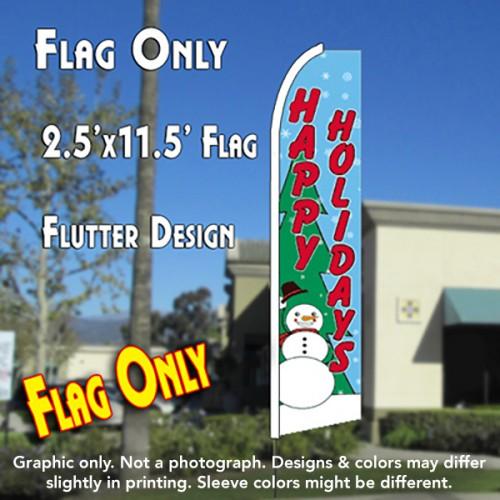 HAPPY HOLIDAYS (Snowman) Flutter Feather Banner Flag (11.5 x 2.5 Feet)