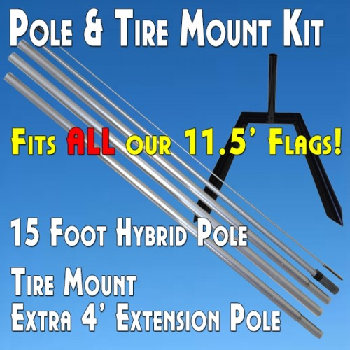 Windless Feather Flag Tire Mount Kit (Tire Mount and Aluminum Pole)