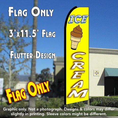 ICE CREAM (Yellow/White) Flutter Feather Banner Flag (11.5 x 3 Feet)