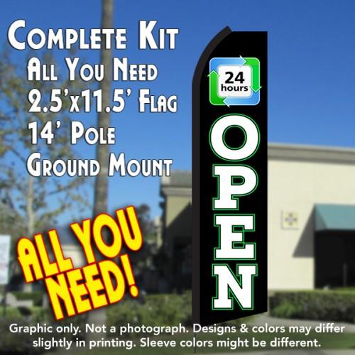 OPEN 24 Hours (Black/White) Flutter Feather Banner Flag Kit (Flag, Pole, & Ground Mt)
