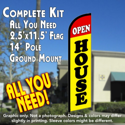 OPEN HOUSE (Red/Yellow) Windless Feather Banner Flag Kit (Flag, Pole, & Ground Mt)