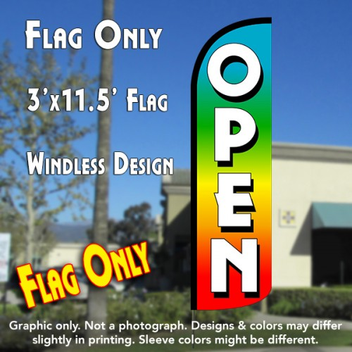 Open (Multi-colored) Windless Polyknit Feather Flag (3 x 11.5 feet)