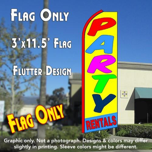 PARTY RENTALS (Yellow/Blue) Flutter Feather Banner Flag (11.5 x 3 Feet)