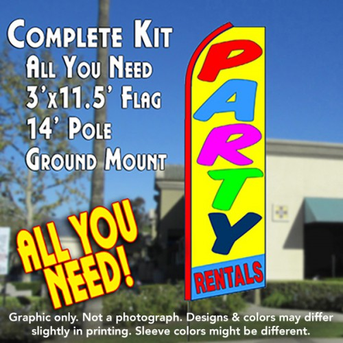 PARTY RENTALS (Yellow/Blue) Flutter Feather Banner Flag Kit (Flag, Pole, & Ground Mt)